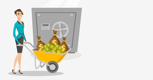 Caucasian business woman pushing wheelbarrow full of money on the background of safe. Rich business woman depositing her money in bank in the safe. Vector flat design illustration. Horizontal layout.