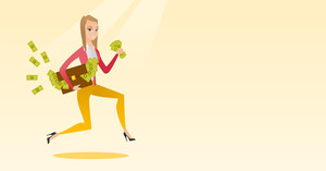 Caucasian business woman running with briefcase full of money and committing economic crime. Business woman stealing money. Economic crime concept. Vector flat design illustration. Horizontal layout.