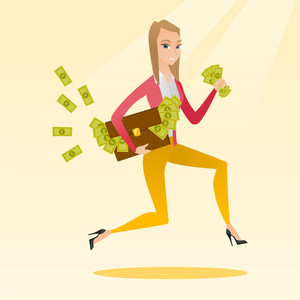 Caucasian business woman running with briefcase full of money and committing economic crime. Business woman stealing money. Economic crime concept. Vector flat design illustration. Square layout.