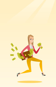 Caucasian business woman running with briefcase full of money and committing economic crime. Business woman stealing money. Economic crime concept. Vector flat design illustration. Vertical layout.