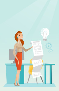 Caucasian business woman showing financial report. Business woman presenting business report. Businesswoman working on a financial business report. Vector flat design illustration. Vertical layout.