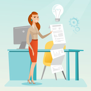 Caucasian business woman showing financial report. Young business woman presenting business report. Businesswoman working on a financial business report. Vector flat design illustration. Square layout