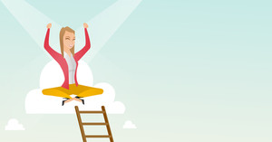 Caucasian business woman sitting on a cloud with ledder. Successful business woman relaxing on a cloud. Business woman with rised hands on a cloud. Vector flat design illustration. Horizontal layout.
