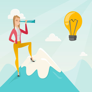 Caucasian business woman standing on the peak of mountain and looking through spyglass at idea bulb. Young business woman looking for business idea. Vector flat design illustration. Square layout.
