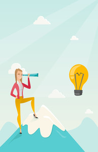 Caucasian business woman standing on the peak of mountain and looking through spyglass at idea bulb. Young business woman looking for business idea. Vector flat design illustration. Vertical layout.