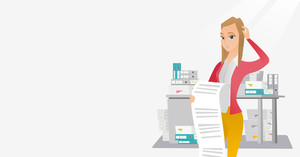 Caucasian business woman standing with long bill in hands. Disappointed young business woman holding long bill. Business woman looking at long bill. Vector flat design illustration. Horizontal layout.