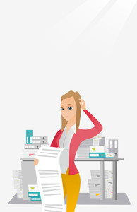 Caucasian business woman standing with long bill in hands. Disappointed young business woman holding long bill. Business woman looking at long bill. Vector flat design illustration. Vertical layout.