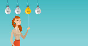 Caucasian business woman switching on hanging idea light bulb. Young business woman pulling a light switch. Concept of successful business idea. Vector flat design illustration. Horizontal layout.
