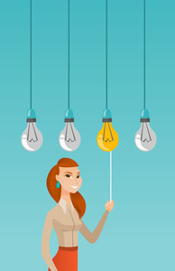 Caucasian business woman switching on hanging idea light bulb. Young happy business woman pulling a light switch. Concept of successful business idea. Vector flat design illustration. Vertical layout.
