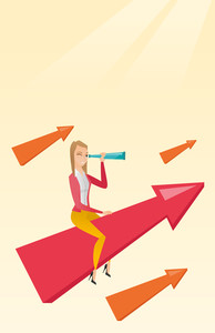 Caucasian business woman using spyglass for searching of opportunities. Business woman searching for opportunities. Business opportunities concept. Vector flat design illustration. Vertical layout.