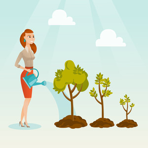 Caucasian business woman watering trees of three sizes. Young business woman watering plants with watering can. Business growth and investment concept. Vector flat design illustration. Square layout.
