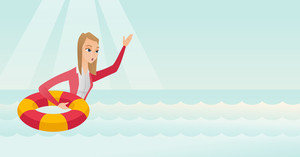 Caucasian business woman with lifebuoy sinking and waving. Frightened business woman sinking and asking for help. Concept of failure in business. Vector flat design illustration. Horizontal layout.