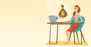 Caucasian business woman working in office and bag of money coming out of laptop. Woman earning money from online business. Online business concept. Vector flat design illustration. Horizontal layout.