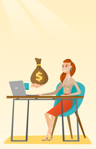 Caucasian business woman working in office and bag of money coming out of laptop. Woman earning money from online business. Online business concept. Vector flat design illustration. Vertical layout.