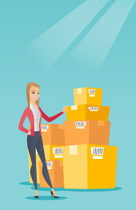Caucasian business woman working in warehouse. Business woman checking boxes in warehouse. Business woman preparing goods for dispatch in warehouse. Vector flat design illustration. Vertical layout.