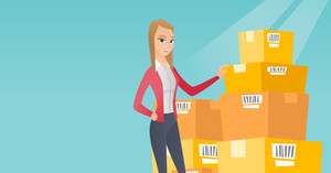 Caucasian business woman working in warehouse. Businesswoman checking boxes in warehouse. Business woman preparing goods for dispatch in warehouse. Vector flat design illustration. Horizontal layout.