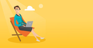Caucasian business woman working on the beach. Young business woman sitting in chaise lounge on the beach. Business woman using laptop on the beach. Vector flat design illustration. Horizontal layout.