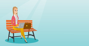 Caucasian business woman working outdoor. Happy business woman working on a laptop. Young business woman sitting on a bench and working on laptop. Vector flat design illustration. Horizontal layout.