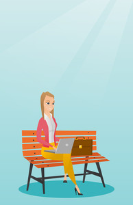 Caucasian business woman working outdoor. Happy business woman working on a laptop. Young business woman sitting on a bench and working on laptop. Vector flat design illustration. Vertical layout.