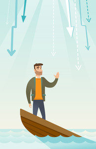 Caucasian businessman bankrupt standing in sinking boat and asking for help. Bankrupt sinking and arrows behind him symbolizing business bankruptcy. Vector flat design illustration. Vertical layout.