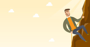 Caucasian businessman climbing on the rock. Young brave businessman climbing on the top of the mountain using rope. Concept of business challenge. Vector flat design illustration. Horizontal layout.