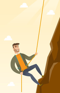 Caucasian businessman climbing on the rock. Young brave businessman climbing on the top of the mountain using rope. Concept of business challenge. Vector flat design illustration. Vertical layout.
