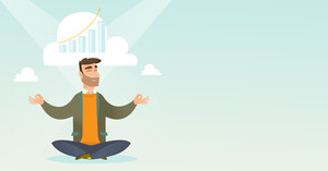Caucasian businessman doing yoga in lotus position and thinking about the growth graph. Peaceful businessman meditating in yoga lotus position. Vector flat design illustration. Horizontal layout.