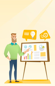Caucasian businessman giving business presentation. Man pointing at charts on board during business presentation. Concept of business presentation. Vector flat design illustration. Vertical layout.