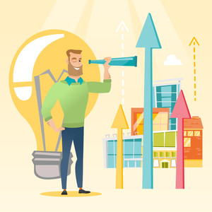 Caucasian businessman looking through spyglass at arrows going up and idea bulb. Businessman looking for creative idea. Successful business idea concept. Vector flat design illustration. Square layout