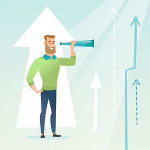 Caucasian businessman looking through spyglass on arrows going up symbolizing business opportunities. Concept of business vision and opportunities. Vector flat design illustration. Square layout.