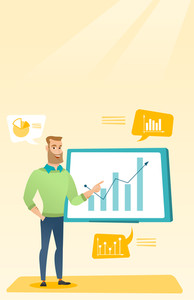 Caucasian businessman presenting review of financial data. Businessman pointing at board with financial data. Businessman explaining financial data. Vector flat design illustration. Vertical layout.