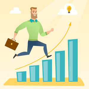 Caucasian businessman running along the growth graph with idea lightbulb. Businessman moving to success and business growth. Business growth concept. Vector flat design illustration. Square layout.