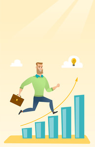 Caucasian businessman running along the growth graph with idea lightbulb. Businessman moving to success and business growth. Business growth concept. Vector flat design illustration. Vertical layout.