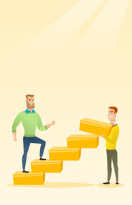 Caucasian businessman runs up the career ladder while another man builds this ladder. Businessman climbing the career ladder. Business career concept. Vector flat design illustration. Vertical layout.