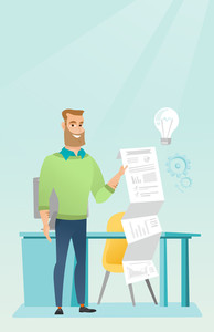 Caucasian businessman showing financial report. Hipster businessman presenting business report. Businessman working on a financial business report. Vector flat design illustration. Vertical layout.
