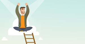Caucasian businessman sitting on a cloud with ledder. Successful businessman relaxing on a cloud. Businessman with rised hands sitting on a cloud. Vector flat design illustration. Horizontal layout.