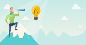 Caucasian businessman standing on the peak of mountain and looking through spyglass at idea bulb. Man looking for business idea. Vector flat design illustration. Horizontal layout.