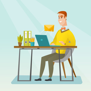 Caucasian businessman working on his laptop with email icon. Businessman receiving email. Businessman sending email. Business technology, email concept. Vector flat design illustration. Square layout.