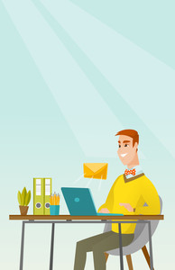 Caucasian businessman working on laptop with email icon. Businessman receiving email. Businessman sending email. Business technology, email concept. Vector flat design illustration. Vertical layout.
