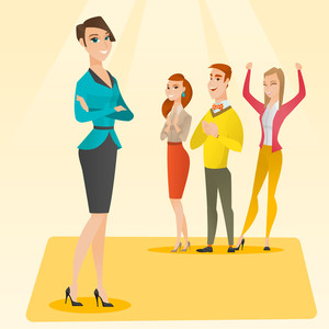 Caucasian businessmen applauding at business seminar. Audience applauding at business conference. Cheerful businessmen applauding during presentation. Vector flat design illustration. Square layout.