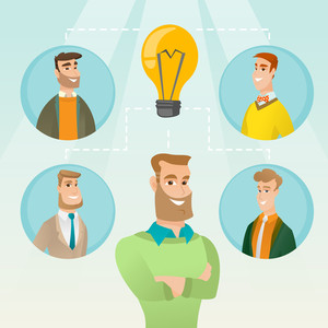 Caucasian businessmen working on business idea. Group of businessmen discussing business idea. Group of business people connected by one idea light bulb. Vector flat design illustration. Square layout