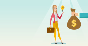 Caucasian businesswoman exchanging her business idea light bulb to money bag. Woman selling her business idea. Concept of successful business idea. Vector flat design illustration. Horizontal layout.