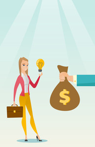 Caucasian businesswoman exchanging her business idea light bulb to money bag. Woman selling her business idea. Concept of successful business idea. Vector flat design illustration. Vertical layout.