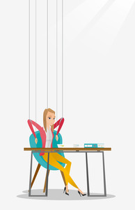 Caucasian businesswoman hanging on strings like marionette. Business woman marionette on ropes sitting in office. Emotionless marionette woman working. Vector flat design illustration. Vertical layout