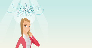 Caucasian businesswoman pointing finger up during process of business thinking. Business woman looking up and thinking. Business thinking concept. Vector flat design illustration. Horizontal layout.