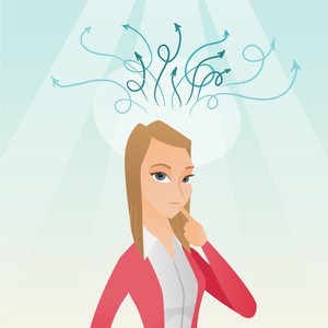 Caucasian businesswoman pointing finger up during process of business thinking. Young business woman looking up and thinking. Business thinking concept. Vector flat design illustration. Square layout.
