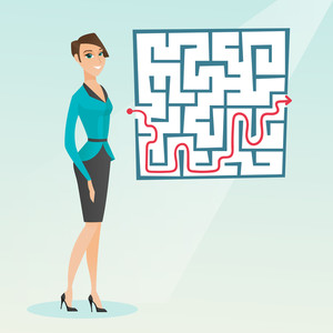 Caucasian businesswoman thinking about business solution. Young smiling businesswoman looking at labyrinth with solution. Business solution concept. Vector flat design illustration. Square layout.