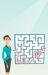Caucasian businesswoman thinking about business solution. Young smiling businesswoman looking at labyrinth with solution. Business solution concept. Vector flat design illustration. Vertical layout.