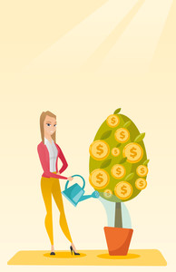 Caucasian businesswoman watering money tree. Young business woman investing money in business project. Illustration of investment money in business. Vector flat design illustration. Vertical layout.