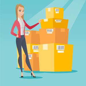 Caucasian businesswoman working in warehouse. Businesswoman checking boxes in warehouse. Young business woman preparing goods for dispatch in warehouse. Vector flat design illustration. Square layout.